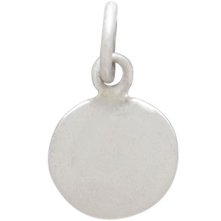 Sterling Silver Oxidized Disk Charm with Bronze Heart 14x8mm