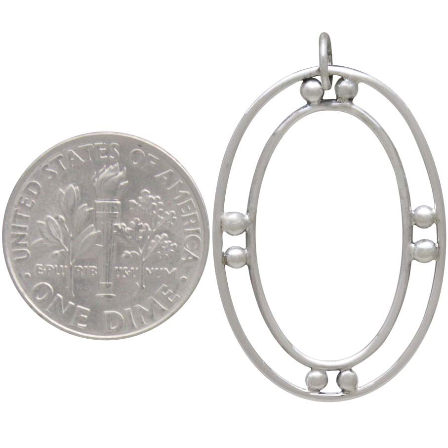 Sterling Silver Double Oval Charm with Granulation 34x21mm