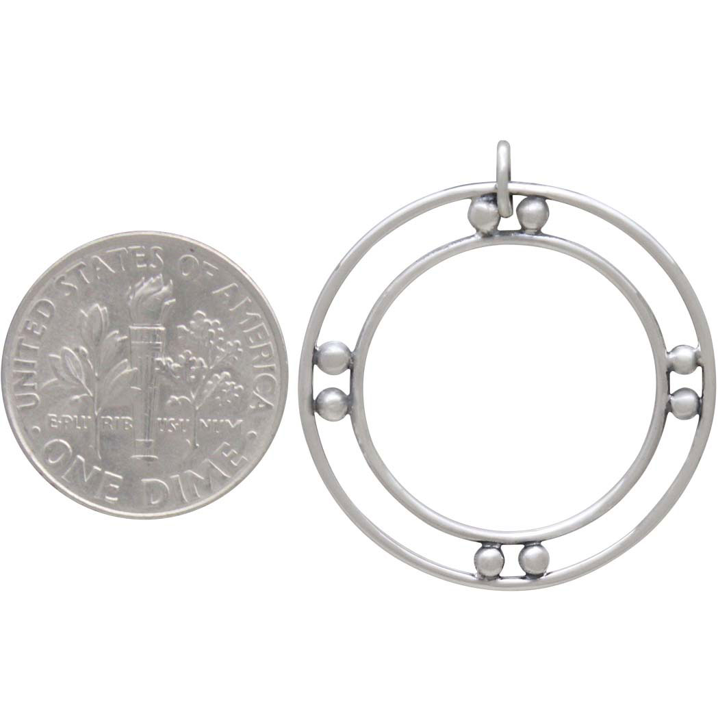 Sterling Silver Double Circle Charm with Granulation 29x26mm