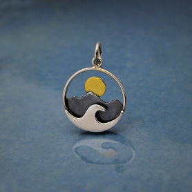 Silver Mountain and Ocean Charm with Bronze Sun 21x15mm
