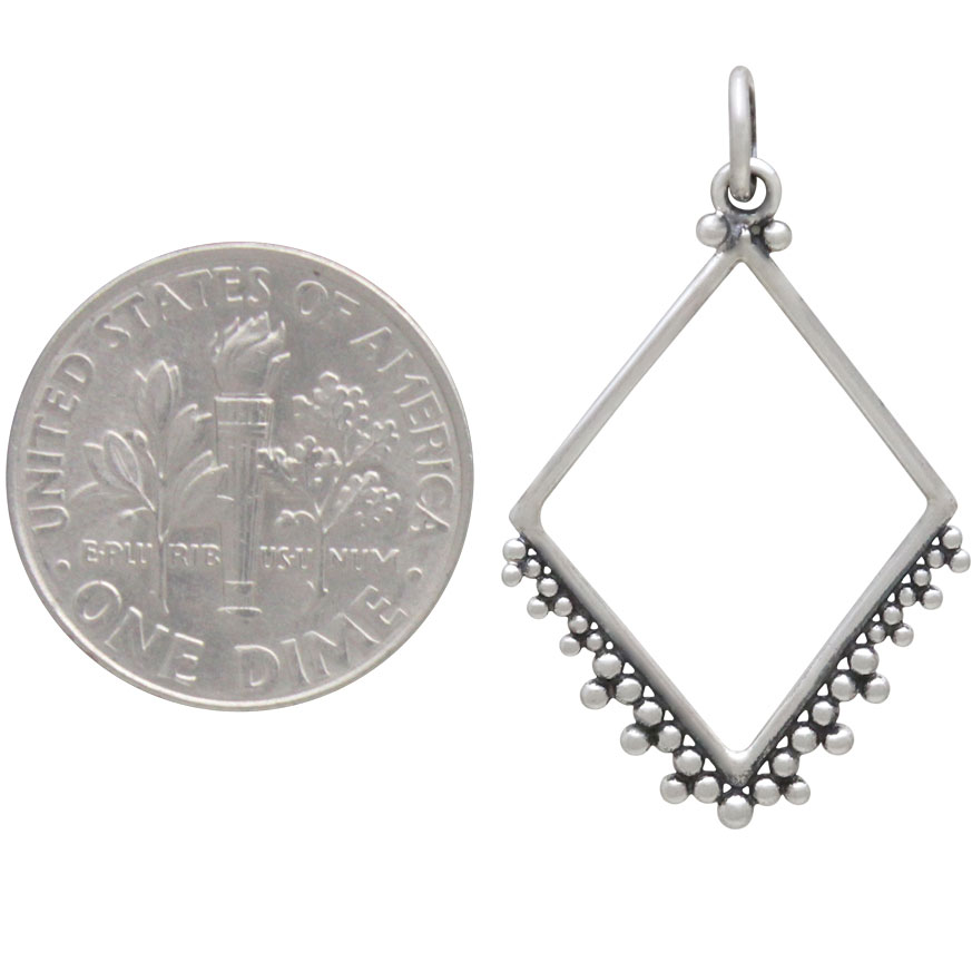 Sterling Silver Diamond Charm with Granulation 30x18mm