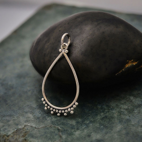 Sterling Silver Teardrop Charm with Granulation 29x14mm