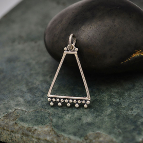 Sterling Silver Trapezoid Charm with Granulation 25x15mm