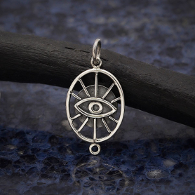 Sterling Silver Oval Evil Eye Link 26x13mm