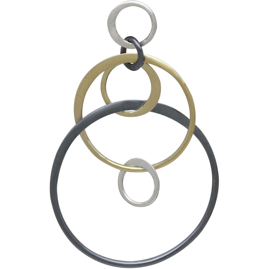 Silver Black and Bronze Six Floating Circles Link 40x25mm