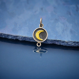 Sterling Silver Link with Bronze Crescent Moon 17x8mm