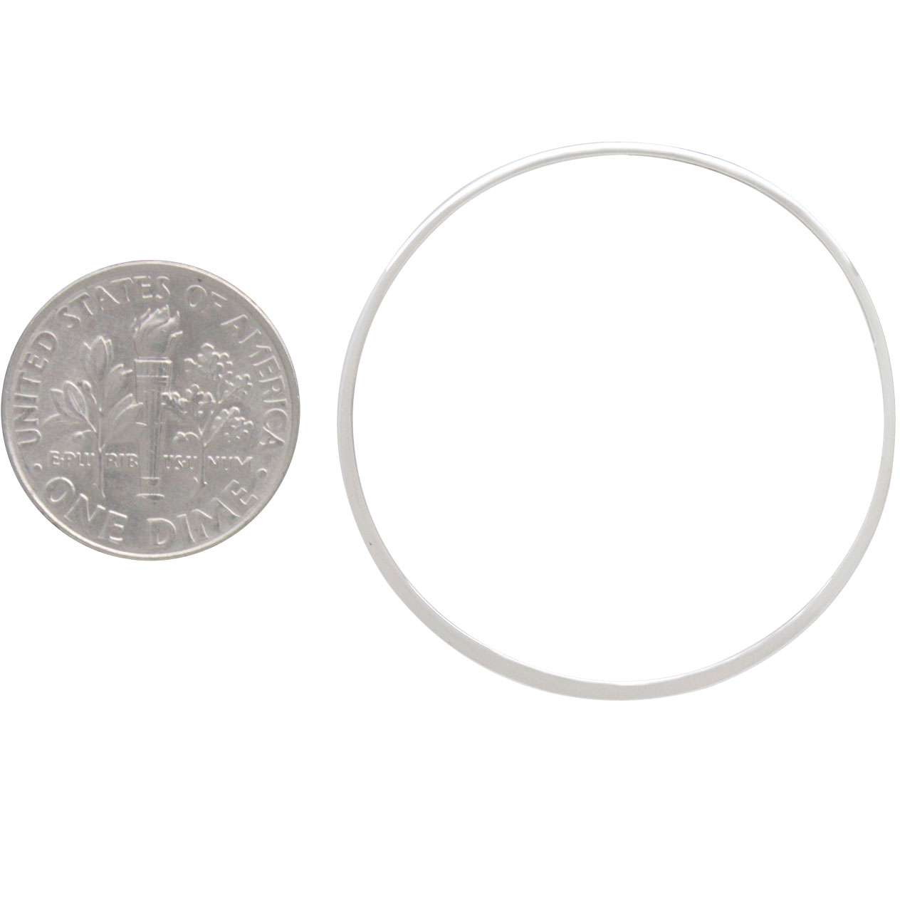 Sterling Silver Half Hammered Circle Jewelry Link 50mm
