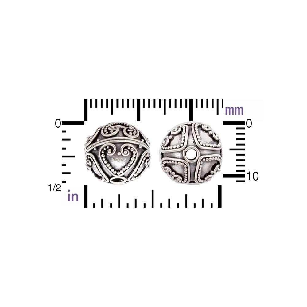 Sterling Silver Bead - Heart Patten in Granulation 12x11mm