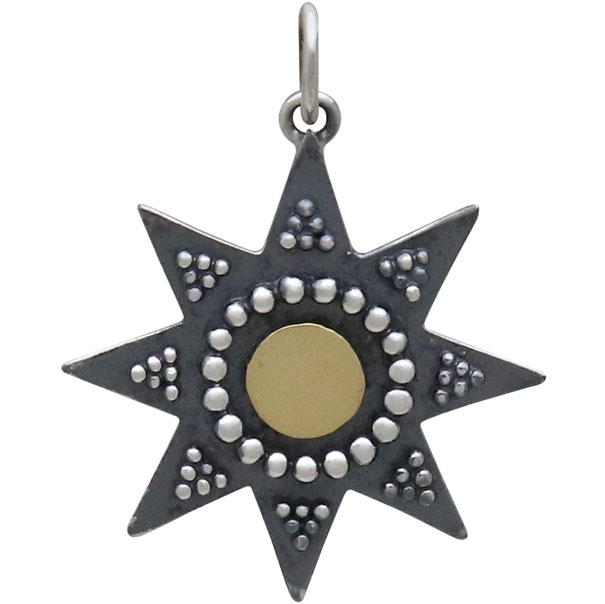 Mixed Metal Sun Pendant with Granulation and Bronze 26x20mm