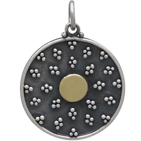 Mixed Metal Mandala Charm w Granulation and Bronze 24x18mm