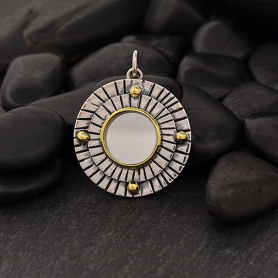 Sterling Silver Mirror Pendant with Hammered Lines 26x20mm