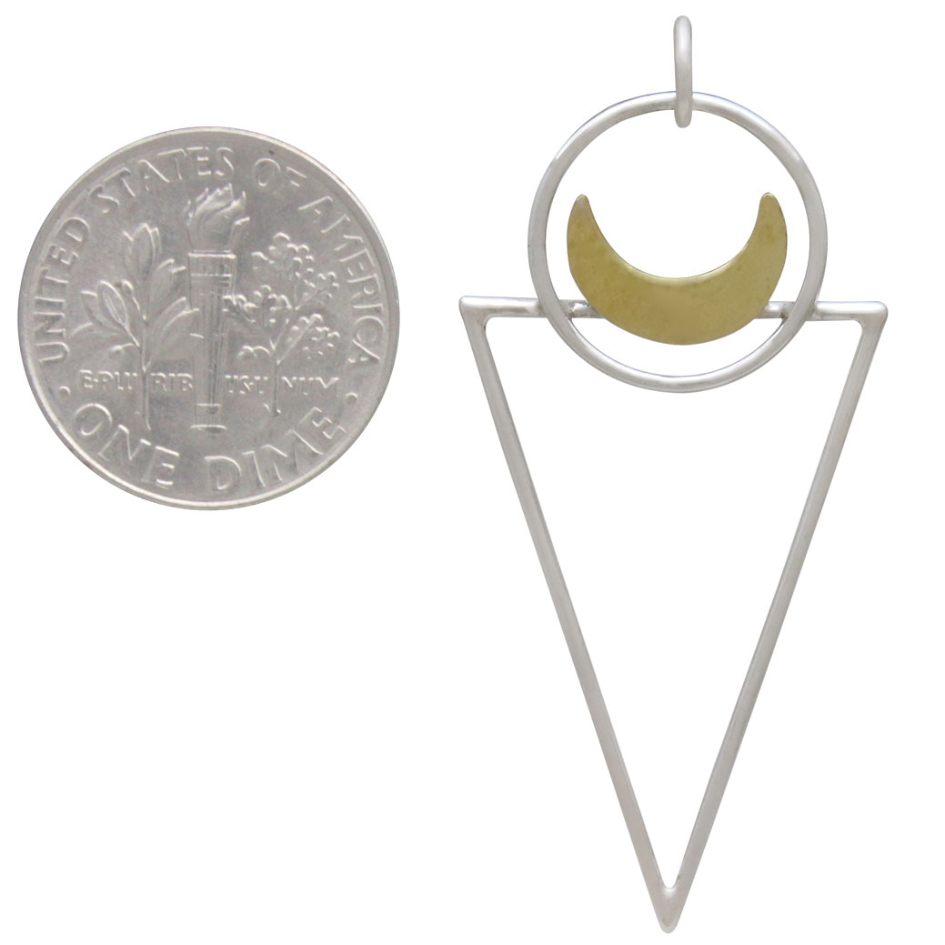 Sterling Silver Triangle Pendant with Bronze Moon 43x20mm