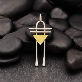 Mixed Metal Wire Arch Charm with Bronze Triangle 29x12mm