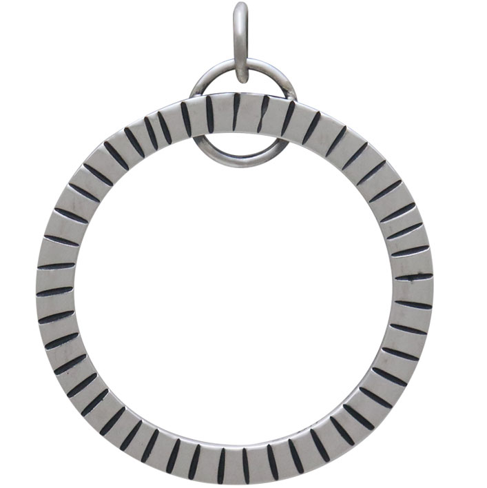 Sterling Silver Circle Pendant with Hammered Lines 31x25mm