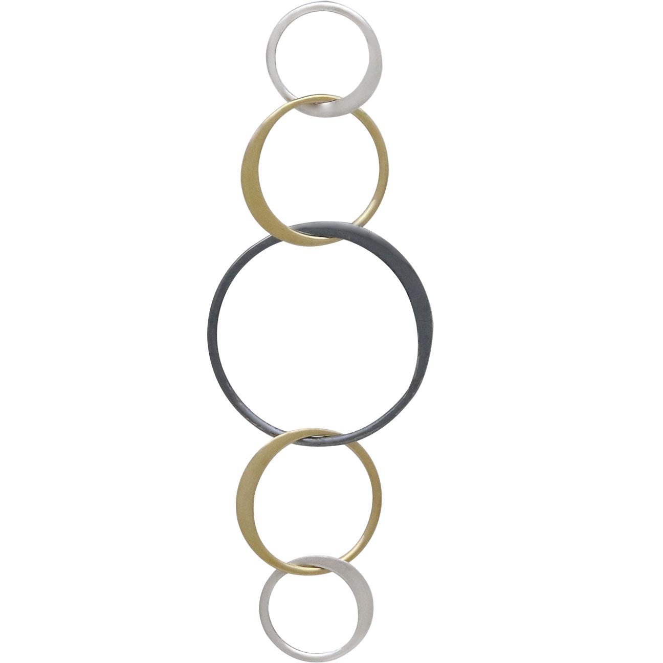 Mixed Metal Five Circles of Life Link 56x18mm