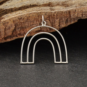 Sterling Silver Open Wire Arch Pendant 27x25mm
