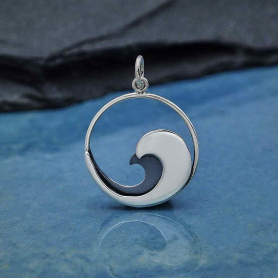Sterling Silver Double Layer Wave Charm 25x18mm