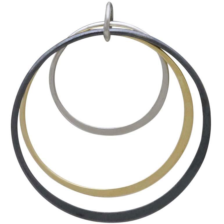 Mixed Metal Three Circle Stack Pendant 33x30mm