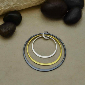 Mixed Metal Three Circle Stack Pendant 33x30mm