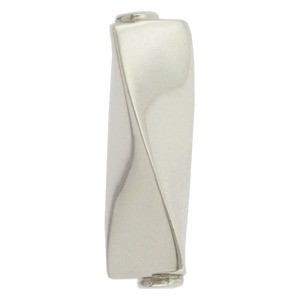 Sterling Silver Bead - Twisted Rectangle Tube
