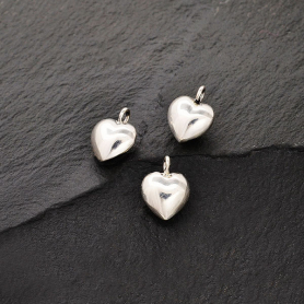 Sterling Silver Puffed Heart Charm - Tiny 9x7mm