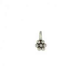 Sterling Silver Granulated Flower Charm - Tiny