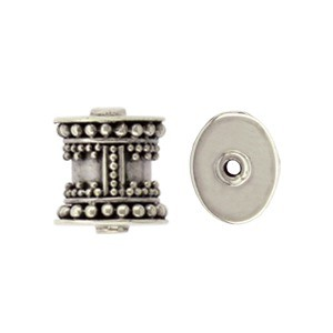 Sterling Silver Bead - Barrel Bead with Granulation 7x8mm