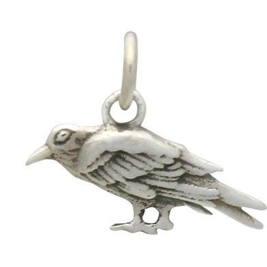 Sterling Silver Raven Charm 13x15mm