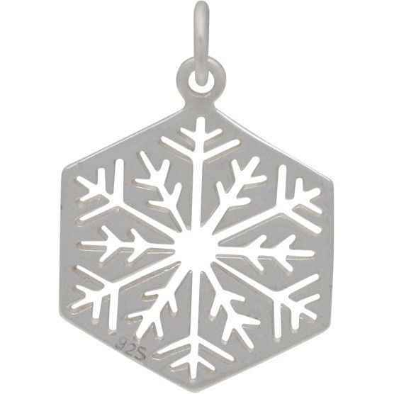 Sterling Silver Cut Out Snowflake Charm - Large 22x14mm