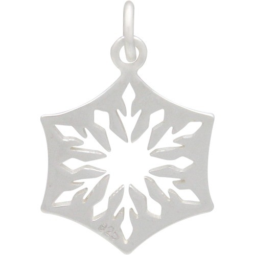 Sterling Silver Cut Out Snowflake Charm - Small 25x16mm