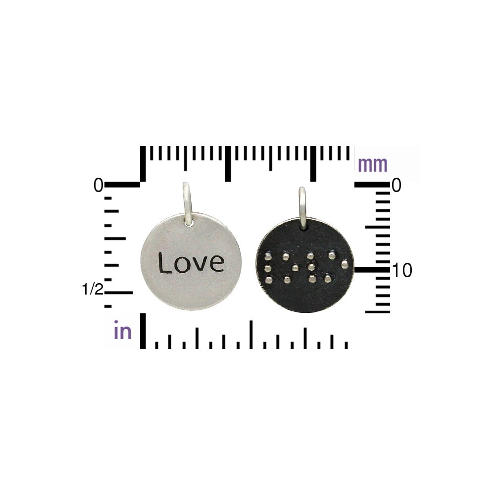 Sterling Silver Braille Charm - Love 16x12mm