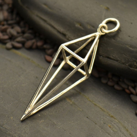 Sterling Silver Cage Kite 3D Pendant -37mm