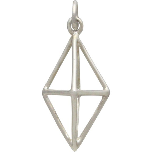 Sterling Silver Cage Diamond 3D Pendant -25mm
