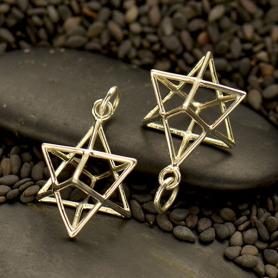 Sterling Silver Sacred Geometry Charm - Wire Merkaba Pendant