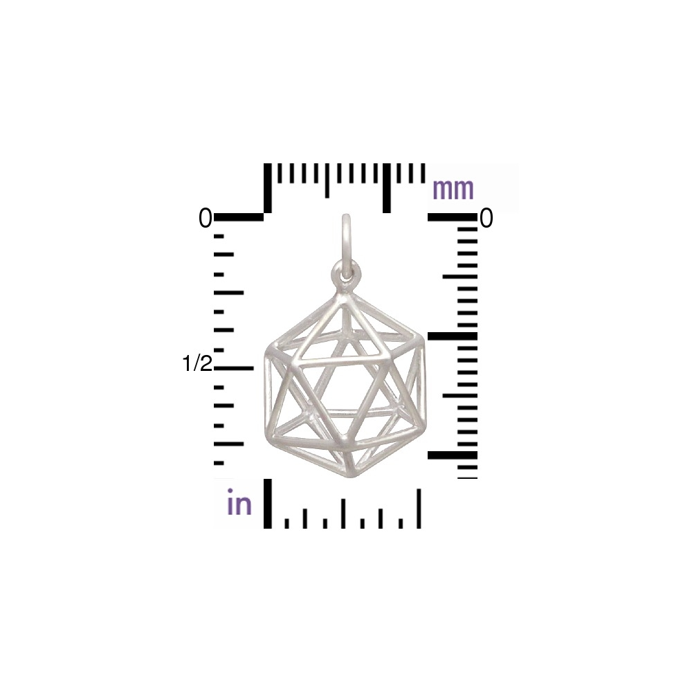 Sterling Silver Wire Icosahedron Pendant 21x15mm