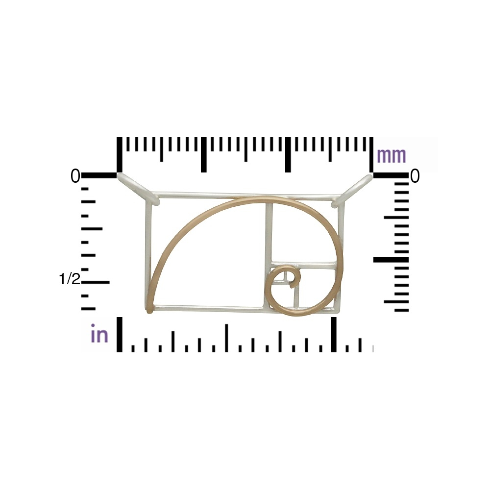 Mixed Metal Golden Ratio Charm in Silver and Bronze 18x23mm