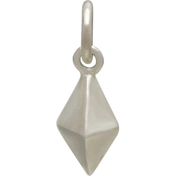 Sterling Silver Short Spike Charm - Geometric Charm 14x5mm
