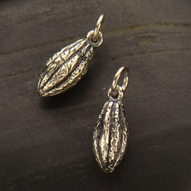 Sterling Silver Cocoa Bean Charm -Chocolate Pod Charm 16x5mm