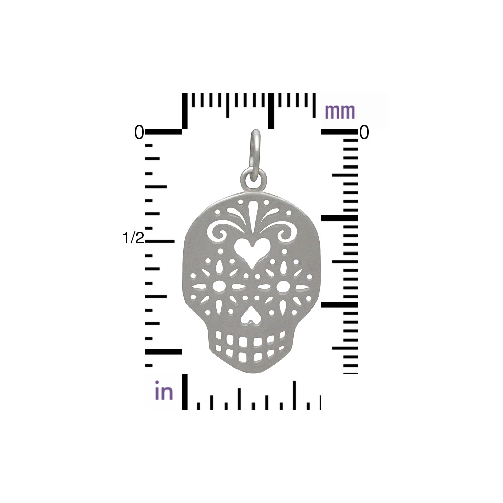 Sterling Silver Sugar Skull Charm - Day of the Dead 29x16mm