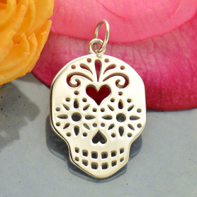 Sterling Silver Sugar Skull Charm - Day of the Dead