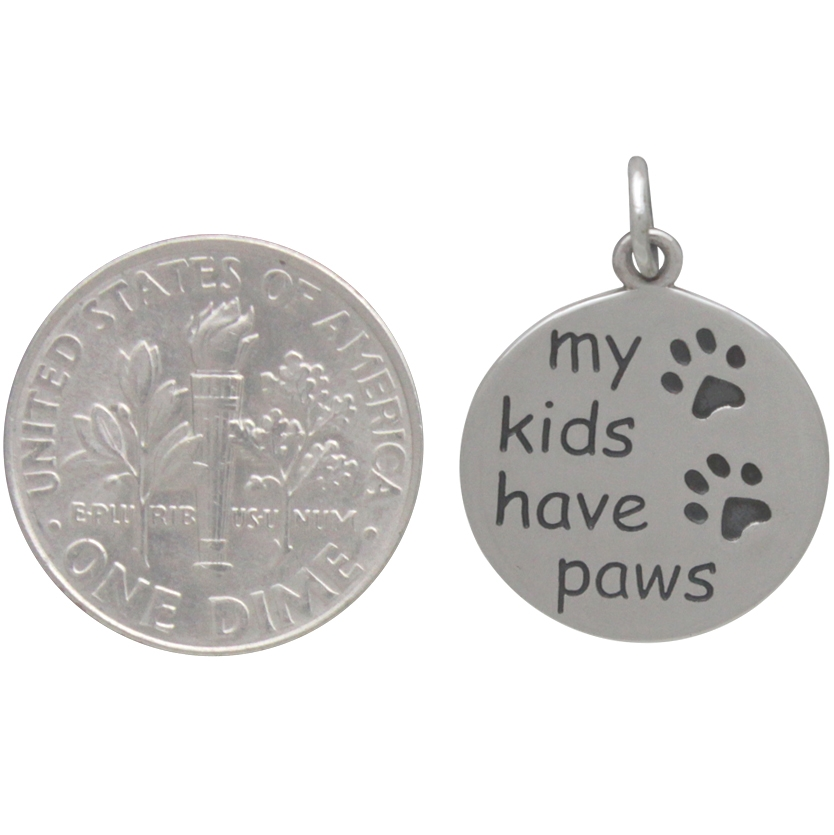 Sterling Silver Message Pendant - My Kids Have Paws 22x16mm
