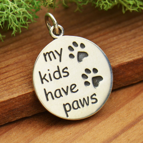 Sterling Silver Message Pendant - My Kids Have Paws