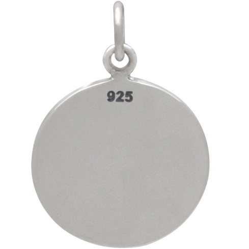 Silver Message Pendant - Paw Prints on my Heart 22x15mm
