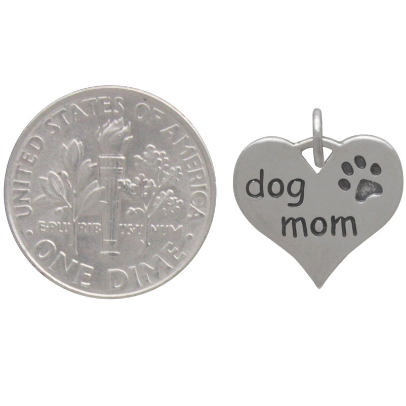Sterling Silver Message Pendant - Dog Mom 16x14mm