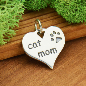 Sterling Silver Message Pendant - Cat Mom