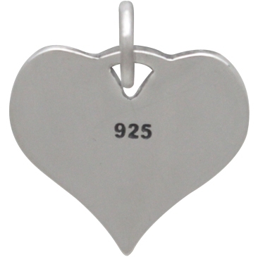 Silver Heart Charm with Pawprint and Footprint 16x14mm