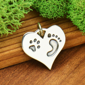 Sterling Silver Heart Charm with Pawprint and Footprint