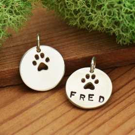 Sterling Silver Circle Charm with Paw Print Cutout