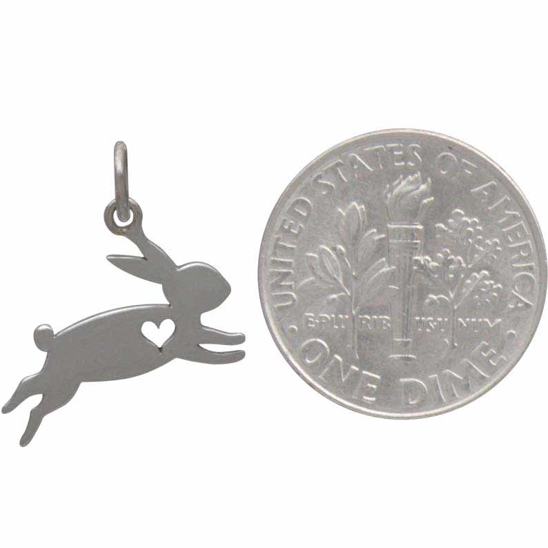 Sterling Silver Bunny Charm with Heart Cutout 15x15mm