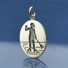 Sterling Silver Stand Up Paddle Girl Charm